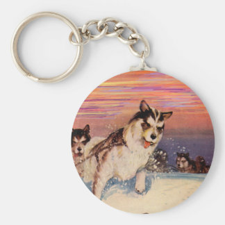 1940s Siberian husky sled dogs doing their thing Keychain