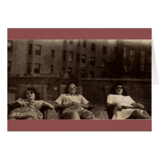 1940s three people relaxing on the roof card