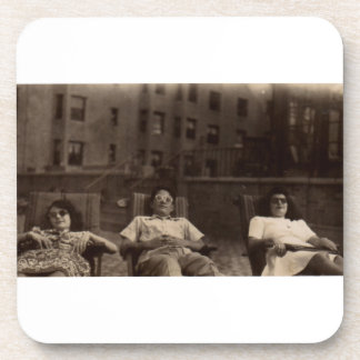 1940s three people relaxing on the roof coaster