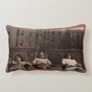 1940s three people relaxing on the roof lumbar pillow