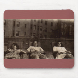1940s three people relaxing on the roof mouse pad