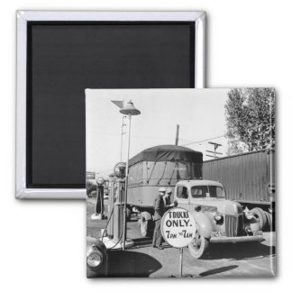 1940s Truck Stop 2 Inch Square Magnet