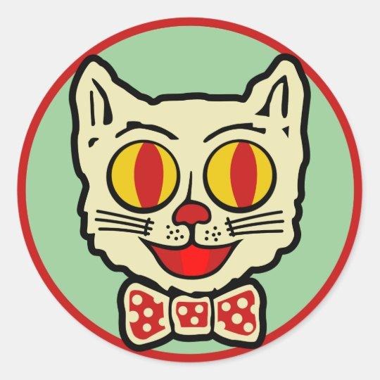 1940s Vintage Cat Design Classic Round Sticker