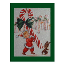 1940s Vintage Child With A Candy Cane Postcard