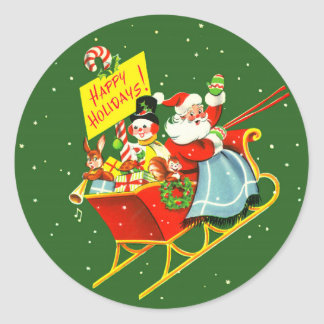 1940s Vintage Christmas Santa Claus with Sleigh Classic Round Sticker