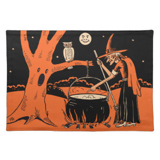 1940s Vintage Halloween Witch with Cauldron Cloth Placemat