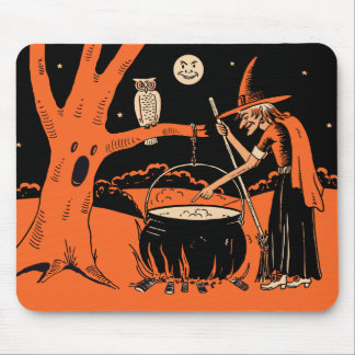 1940s Vintage Halloween Witch with Cauldron Mousepads