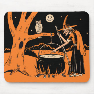1940s Vintage Halloween Witch with Cauldron Mouse Pad
