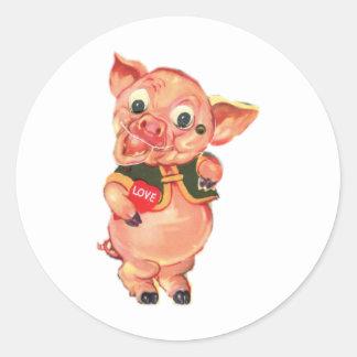 1940's Vintage Pig Classic Round Sticker