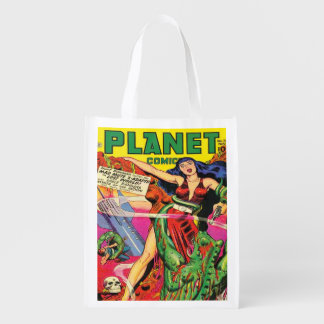 1940's VINTAGE SCI FI COMICS DESIGN COVER Reusable Grocery Bag