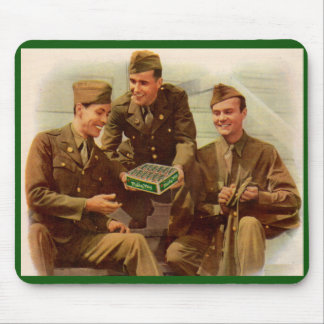 1940s WWII ad soldiers with candy from home Mouse Pad
