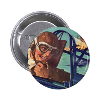 1940s WWII dogfight in the air Button