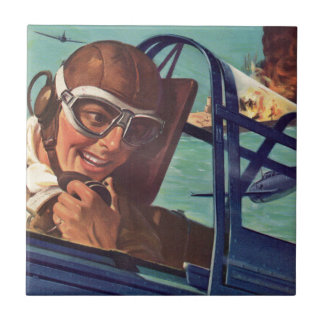 1940s WWII dogfight in the air Tile
