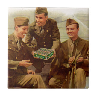 1940s WWII solders with candy from home Ceramic Tile
