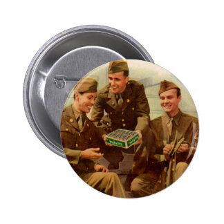 1940s WWII solders with candy from home Pinback Button