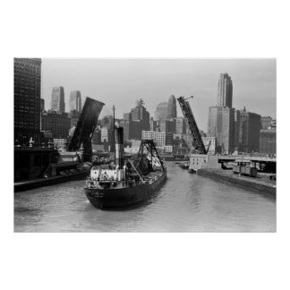 1941 CHICAGO RIVER POSTER