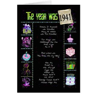 1941 datos divertidos del cumpleaños tarjeta de felicitación