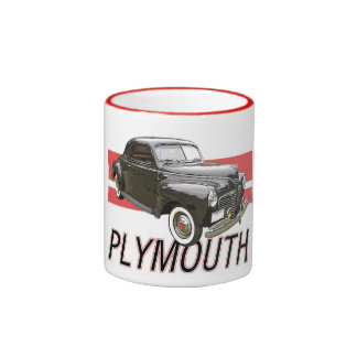 1941 Plymouth coupe with graphic and text. Ringer Coffee Mug