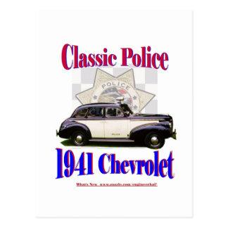 1941 policía clásica Chevrolet Tarjeta Postal