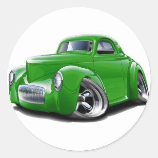 1941 Willys Green Car Classic Round Sticker