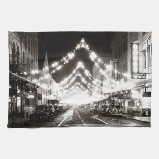 1942 Honolulu's Fort Street at Night Hand Towel