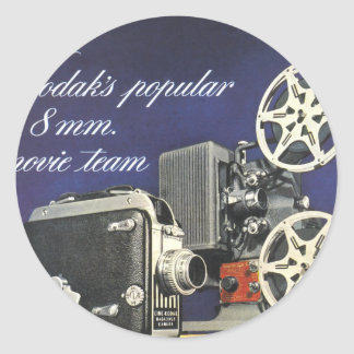 1942 Movie Camera and Projector Classic Round Sticker