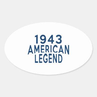 1943 American Legend Birthday Designs Oval Sticker