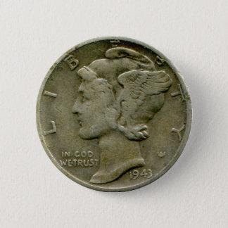 1943 US Mercury dime obverse button