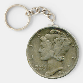 1943 US Mercury dime obverse keychain