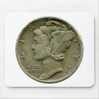 1943 US Mercury dime obverse mousepad