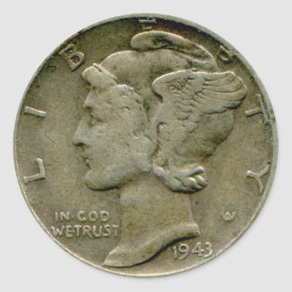 1943 US Mercury dime obverse sticker