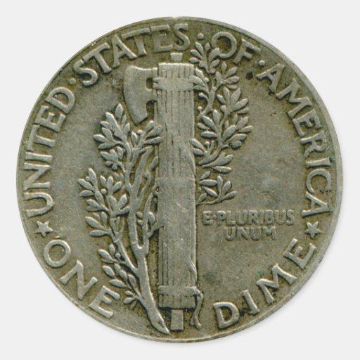 1943 US Mercury dime reverse sticker