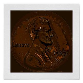 1943 Wheat Leaf Penny 8 Poster