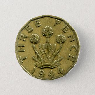 1944 British three pence button