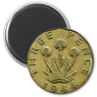 1944 British three pence magnet