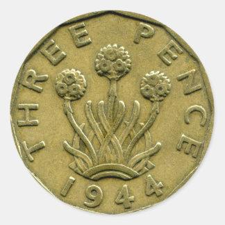1944 British three pence sticker