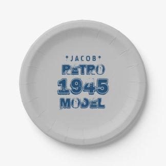 1945 70th Birthday RETRO MODEL Grunge Gray J70Z 7 Inch Paper Plate