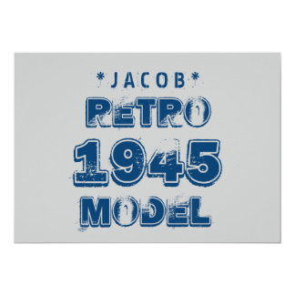 1945 70th Birthday RETRO MODEL Grunge Gray J70Z Card