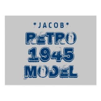 1945 70th Birthday RETRO MODEL Grunge Gray J70Z Postcard