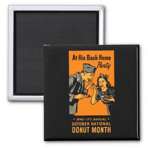 1945 Donut Poster 2 Inch Square Magnet