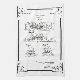 1945 Fly fishihg boat patent drawing Hand Towels