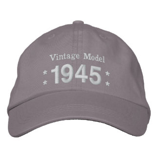 1945 o cuaesquiera GRISES y BLANCOS del cumpleaños Gorras Bordadas