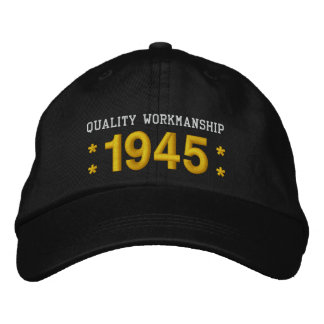 1945 or Any Year 70th Birthday A5 BLACK and GOLD Embroidered Baseball Hat