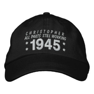 1945 or Any Year 70th Birthday A5 BLACK and WHITE Embroidered Baseball Cap