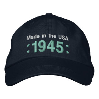 1945 or Any Year 70th Birthday A6 BLACK and TEAL Embroidered Baseball Cap