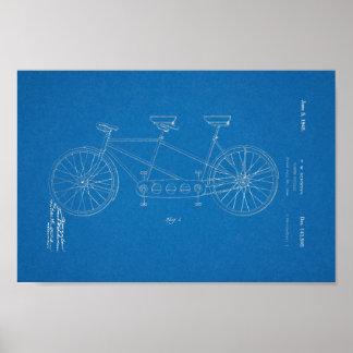 1945 Vintage Schwinn Bicycle Patent Blueprint Art Poster