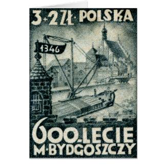 1946 Bydgoszcz Poland Greeting Card