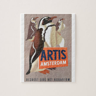 1947 Artis Zoo Amsterdam Penguins Poster Jigsaw Puzzle