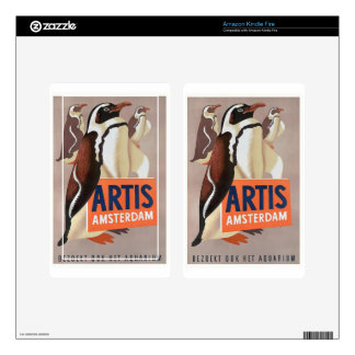 1947 Artis Zoo Amsterdam Penguins Poster Skins For Kindle Fire