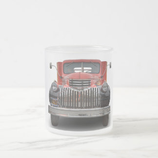 1947 CHEVROLET STAKE TRUCK FROSTED GLASS COFFEE MUG